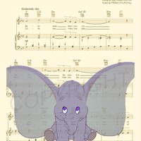 Dumbo Baby Music Sheet Art Print