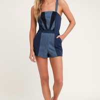 Mixed Emotions Blue Denim Color Block Romper