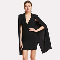 Cloak Sleeve Surplice Dress Women Clothes Elegant Pencil Dresses Ladies Workwear Wrap Mini Dress