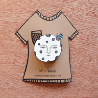 moon brooch - black and white illustration pin badge