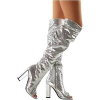 Women's Silver Sequin Open Toe Thigh High Boots
