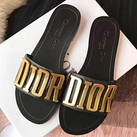 DIOR Hot Sale Lady Letter Casual Slippers Shoes