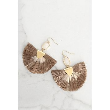 Fringe and Feathers Brown Statement Earrings
