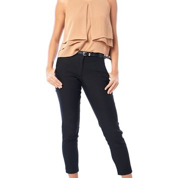 Belted Dress Cropped Pants