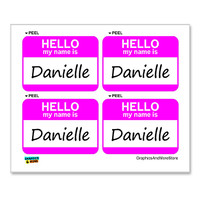 Danielle Hello My Name Is - Sheet of 4 Stickers