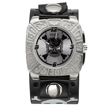 Silver Skull & Crossbones Leather Band Watch