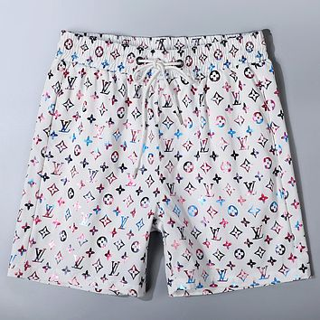 LV 2020 new rainbow full printed letters wild loose beach shorts white