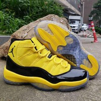 DCCK Hot Nike Air Jordan 11 Retro AJ11 Yellow Leather Basketball Shoes