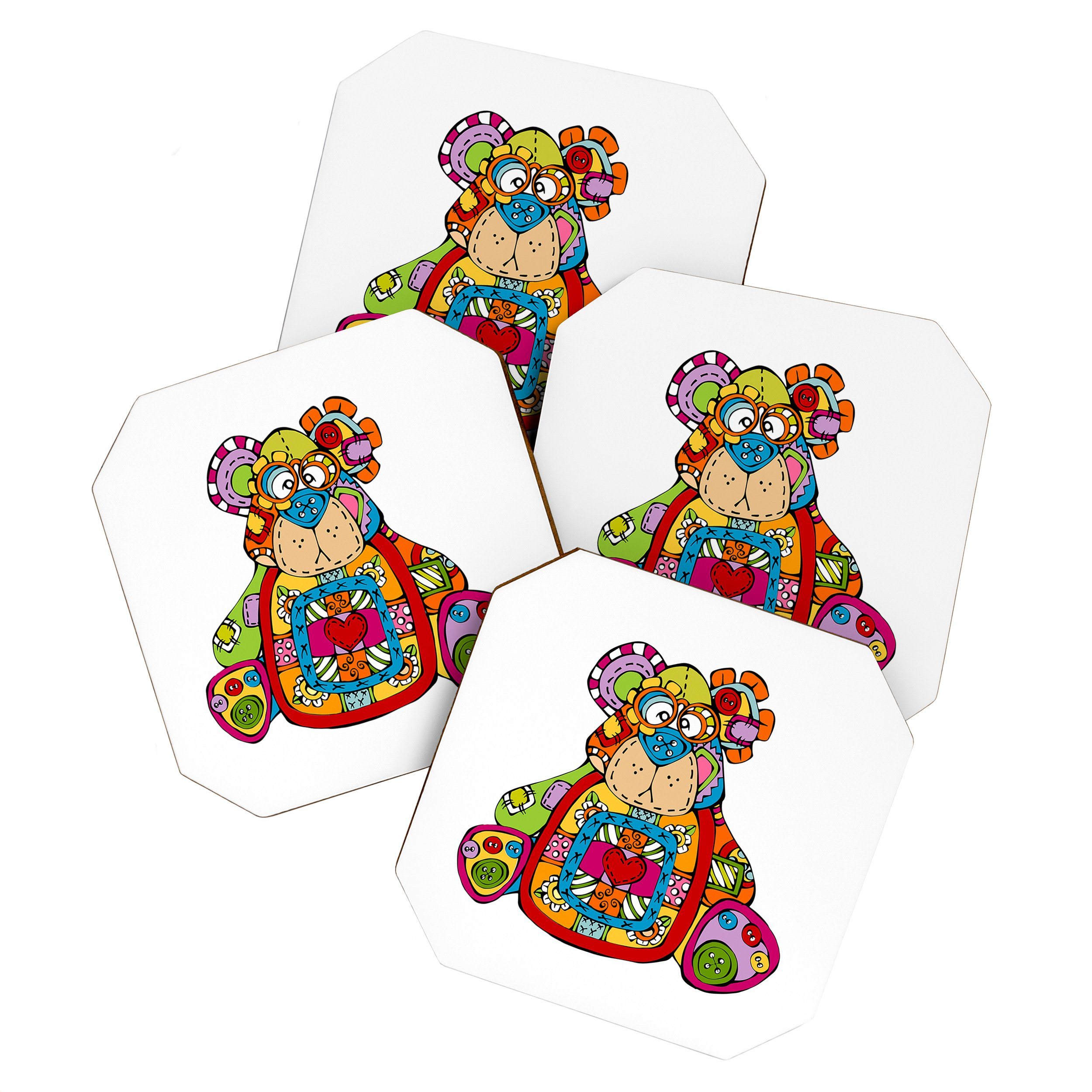 Image of Angry Squirrel Studio BEAR Button Nose Buddies Coaster Set