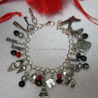 50 Fifty Shades Of Grey themed charm bracelet LOADED by faeriefer