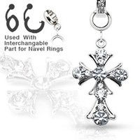Add-On Gem Paved Vintage Cross Dangle Charm for Navel Belly Button Rings, Dermal Anchors and More