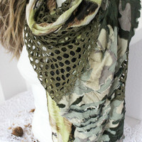 Olive Green Scarf, Scarf Dark Green, Dark Green Shimmer scarf, patchwork scarf, scarves Green Olives, Christmas Gift, Green women wrap