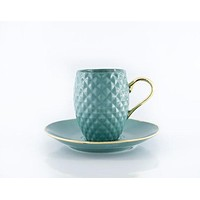 Blue Handmade Pineapple Ceramic Espresso Cup