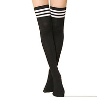Women Above Knee Length Solid / Striped Stockings/ Socks