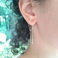 "Extra Long 8"" Earring for Multiple Pierced Ears, Sterling Silver Threader Earring, 20 cm Long Boho Earring, Very Long Earring, Chain Earring"