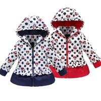 Minnie winter jacket for Girl Warm Hooded Imitation leather windbreak Children Coats Cotton Baby clothes Kids Jackets Coat