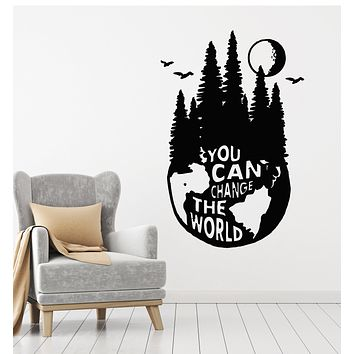 Vinyl Wall Decal Nature Forest Mountains Motivational Phrase Stickers Mural (g3679)