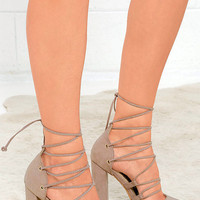 Your Girl Taupe Suede Lace-Up Heels