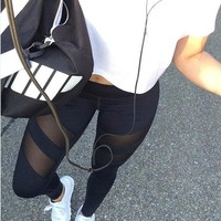 Plus Size Hollow Out Gym Leggings