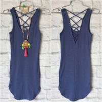 Back at It Ribbed Tank Dress: Blue