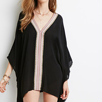 Embroidered Gauze Poncho Top