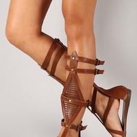 Bumper Lory-89A Buckle Strappy Gladiator Knee High Flat Sandal