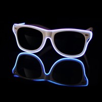 EL Wire Light Up White and Aqua Sunglasses : LED Wire Glasses from RaveReady