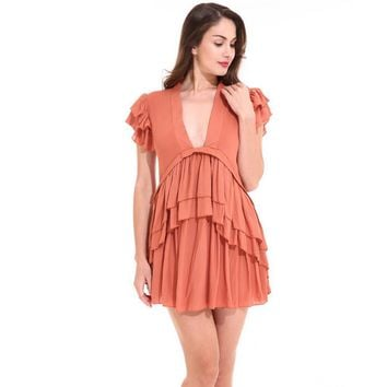 Girls Cute Ruffles Mini Dress Linen V Neck Casual Party Ladies Robes Gowns Clothing