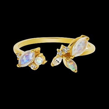 Rainbow Moonstone, Opal and Diamond Picasso's Butterfly Ring