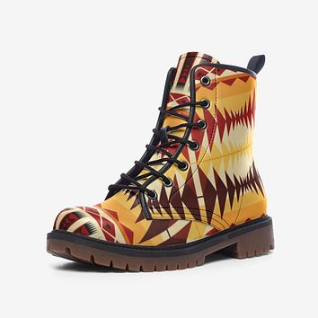 Leather Boots, Orange and Brown Geometric Style Boots