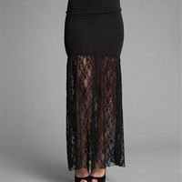 Black Knit Lace Maxi Skirt