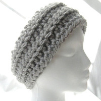 Ready To Ship Sliver Gray Chunky Textured  Crochet Headband Ear Warmer Women's Accessories