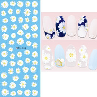 DS304 Design Water Transfer Nails Art Sticker Harajuku Elements White chrysanthemum Nail Wraps Sticker Tips Manicura nail Decal