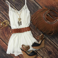 Take Me to the Beach Romper: White