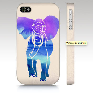 iPhone 4s case, iPhone 4 case, iPhone 5 case, watercolor elephant, purple, watercolor painting, animal art for your phone