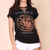 Jonathan Saint Game of Thrones Lace Up Tee
