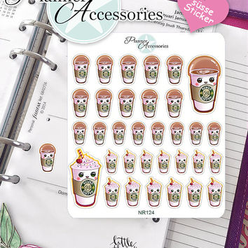 Sticker Sheet Starbucks Erin Condren, Happy Planner, Filofax, Kikki K -NR124