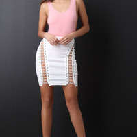 Open Corset High Waisted Mini Skirt