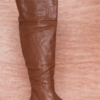 NY VIP Go Get Em Cowgirl Western Stitch Over The Knee Boots B107 - Cognac
