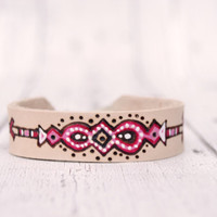 Leather Bracelet for woman // Hippie Bracelet// Rose quartz  // Boho Gift // gift for her // One of a kind // Leather cuff