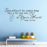Wall Vinyl Decal Quote Sticker Home Decor Art Mural Sometimes the smallest things take up the most room in your heart Winnie The Pooh Z338