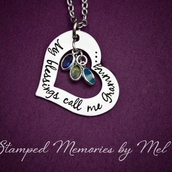 My Blessings Call Me Grammy - Grandma, Granny, Nana Personalized Necklace with Birthstones - Heart Necklace for Mom, Grandmother, Aunt, etc.