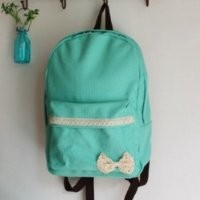Girl Sweety Lace Bow Canvas Fashion Backpack (Lake_green)