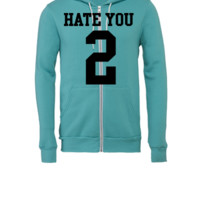 Hate You 2 Jersey - Unisex Full-Zip Hooded Sweatshirt