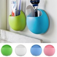 2017 Newest Toothbrush Holder Bathroom Kitchen Family Toothbrush Suction Cups Holder Wall Stand Hook Cups Organizer [8045579143]