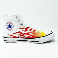 Converse Chuck Taylor All Star Hi Flames White Red Yellow 166257F Womens Shoes