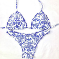 Sexy Blue and white porcelain Print Fashion Halter Two Piece Bikini