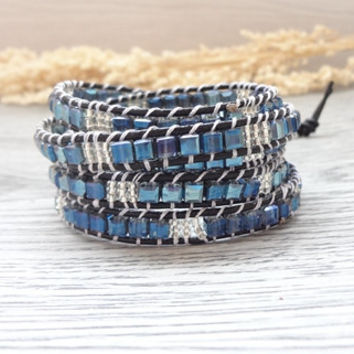 Blue Square Beaded Beaded Wrap Blie Bracelet Simulated Leather Women Boho Bracelet,Inspirational Handcrafted Semiprecious Stone Jewelry