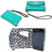 JAVOedge Leopard Clutch Wallet Case with Wristlet for the Apple iPhone 4s, iPhone 4 (Turquoise)