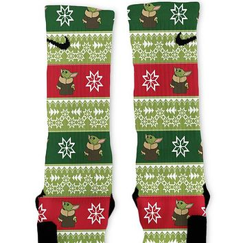 Christmas Sweater The Child Custom Nike Elite Socks